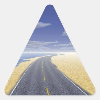 OnTheRoadAgain - día agradable Pegatina Triangular
