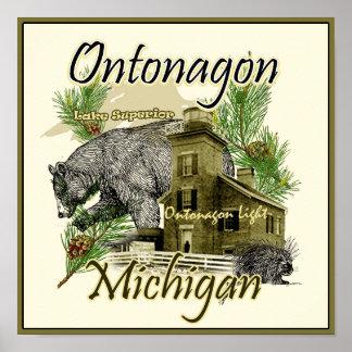 Ontonagon Light Lighthouse Michigan Poster