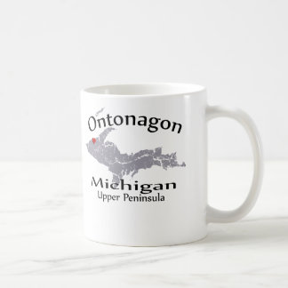 Ontonagon Michigan Heart Map Design Mug Coffee Mug