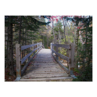 Onward Maine Wood Bridge Poster