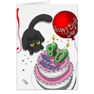 Onyx 80th Birthday Card