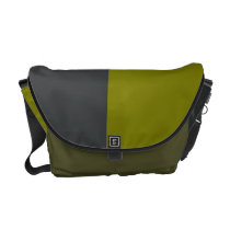 Onyx and Olive-Colored Courier Bag