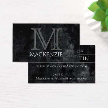 Professional Business Onyx Business | Monogram Black Simple Classic | Business Card