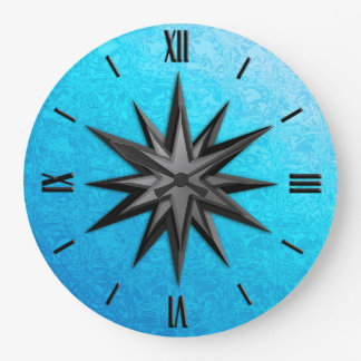 Onyx compass rose - turquoise glass background large clock