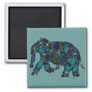 Onyx Elephant 2 Inch Square Magnet