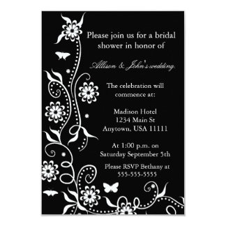 Onyx Floral Swirl Bridal Shower Invitation