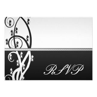 Onyx Floral Vine RSVP Card