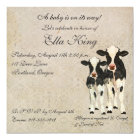 Onyx & Ivory Cows Baby Invitation
