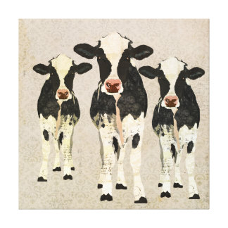 Onyx & Ivory Cows Canvas