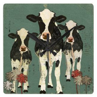 Onyx & Ivory Cows Clock