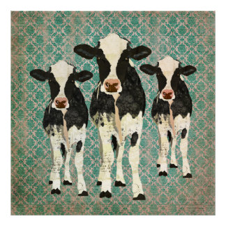 Onyx & Ivory Cows Damask  Art Poster