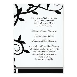 Onyx Leafy Vine Wedding Invitation