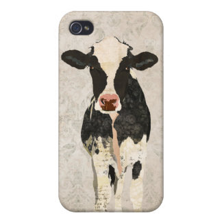 Onyx & Pearl Cow Damask i iPhone 4 Covers