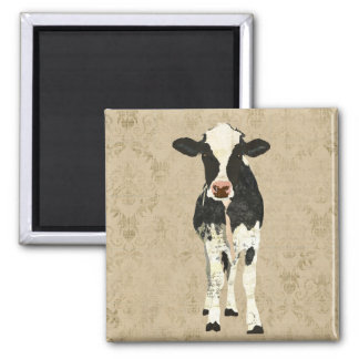 Onyx & Pearl Cow Magnet