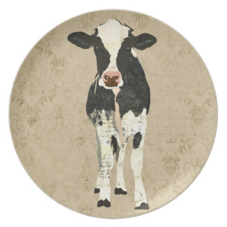 Onyx & Pearl Cow Plate