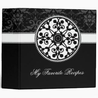 Onyx Rosette Recipe Book 3 Ring Binder