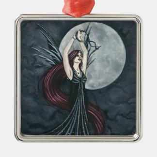 Onyx Square Metal Christmas Ornament