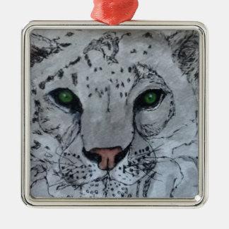 Onza blanca del gato ornamento para arbol de navidad