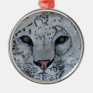 Onza blanca del gato ornamentos de reyes magos