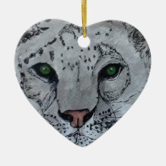 Onza blanca del gato ornamentos de navidad