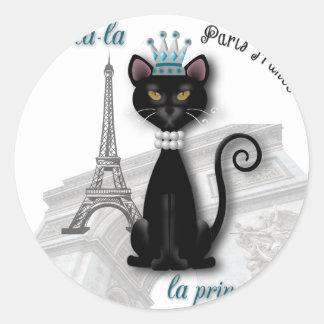 Oo-la-la French Kitty Princess Classic Round Sticker