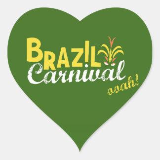 ¡Ooah del carnaval del Brasil! Pegatina En Forma De Corazón