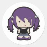 OOAK Punk Goth Girl Illustration Round Sticker