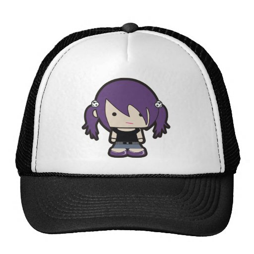 OOAK Punk Goth Girl Illustration Trucker Hat