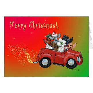 Oodles de las tarjetas de coche retras del navidad