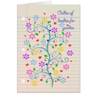 ¡Oodles de los Doodles para Yoodle!  Cuaderno Dood Tarjeta De Felicitación