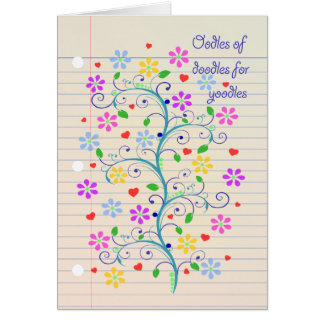 Oodles of Doodles for Yoodle!  Notebook Paper Dood Greeting Cards
