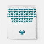 Oodles of Hearts DARK TEAL Wedding RSVP V05 Envelopes