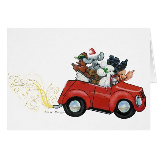 Oodles Poodles red Car Christmas Cards