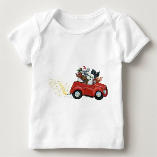 Oodles Poodles red Car Christmas Infant Tee