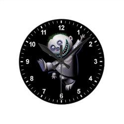 Medium Round Wall Clock with Disney Christmas Ornaments design
