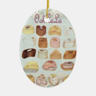 ooh la la bakery  pastry chocolate french cafe ceramic ornament