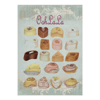 ooh la la bakery  pastry chocolate french cafe poster