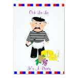 Ooh La La It's A French Themed Party Night 4.5x6.25 Paper Invitation Card