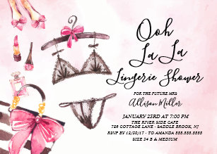 ooh la la lingerie bridal shower invitation