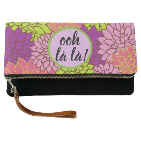 Ooh la la/ Monogram Floral Foldover Clutch