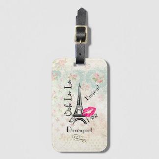 Ooh La La Paris Eiffel Tower on Vintage Pattern Bag Tag