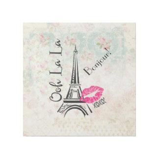 Ooh La La Paris Eiffel Tower on Vintage Pattern Gallery Wrap