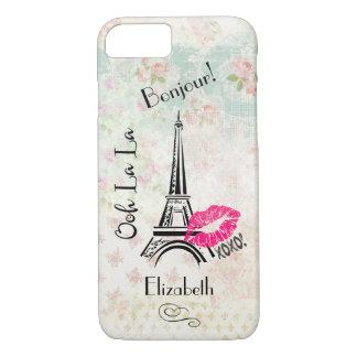 Ooh La La Paris Eiffel Tower on Vintage Pattern iPhone 8/7 Case