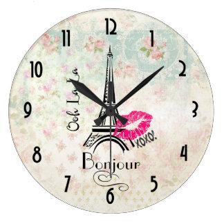 Ooh La La Paris Eiffel Tower on Vintage Pattern Large Clock