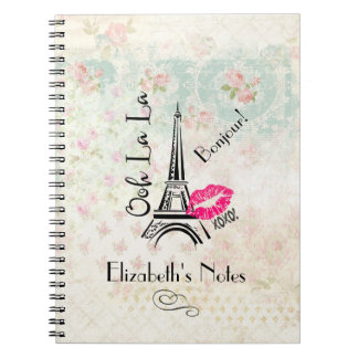 Ooh La La Paris Eiffel Tower on Vintage Pattern Notebook