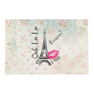 Ooh La La Paris Eiffel Tower on Vintage Pattern Placemat
