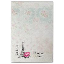 Ooh La La Paris Eiffel Tower on Vintage Pattern Post-it Notes