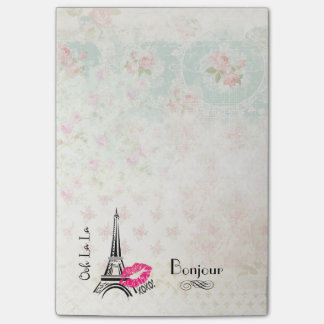 Ooh La La Paris Eiffel Tower on Vintage Pattern Post-it Notes