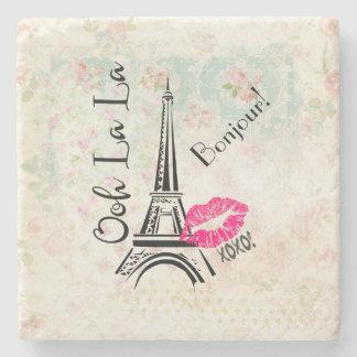 Ooh La La Paris Eiffel Tower on Vintage Pattern Stone Coaster