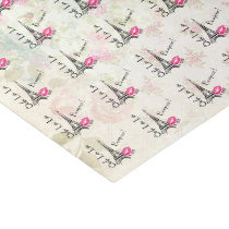 Ooh La La Paris Eiffel Tower on Vintage Pattern Tissue Paper